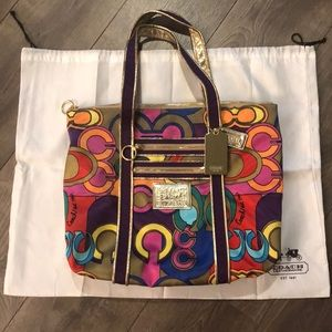 💖 NWOT RARE LIMITED EDITION Coach Poppy Glam Tote